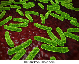Abstract green bacteria medical background. 3D rendering.