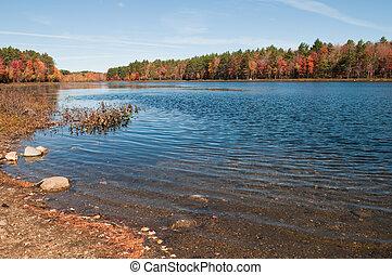 Reservoir - Hopkinton-Everett Reservoir in autumn,...
