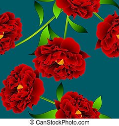 Red Peony Flower on Teal Indigo Background. Vector...