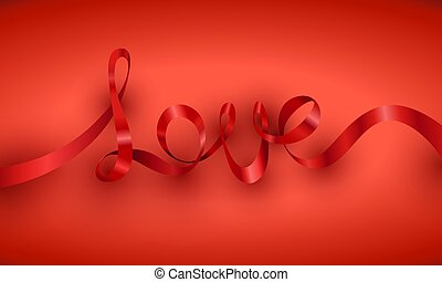 Love red ribbon horizontal Valentines Day card.