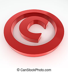 Red Shiny Copyright Symbol