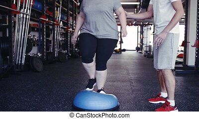 Overweight woman with personal trainer in modern gym working...