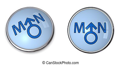 Button Blue Word Man/Male Gender Symbol