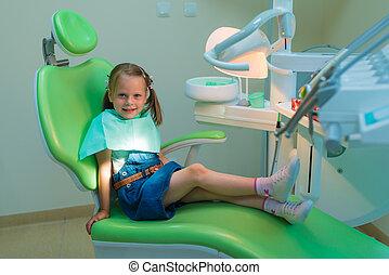 Healthy teeth patient girl waiting in dental chair in dentist office