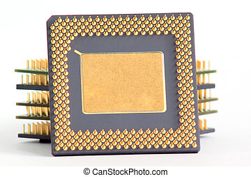 Stack of computer chips on a white background.