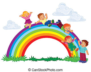 Carefree young children slide down the rainbow -...