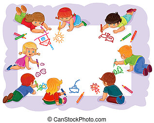 Happy children together draw on a large sheet of paper