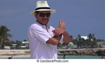 Happy Male Tourist