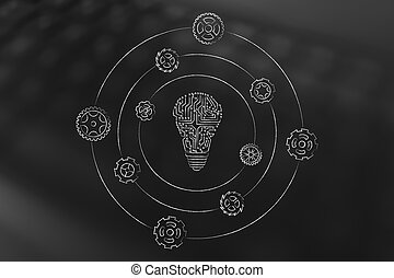 electronic circuit lightbulb with gearwheels spinning around...