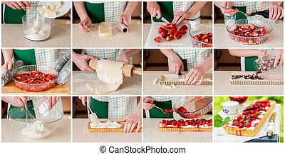 A Step by Step Collage of Making Strawberry and Curd Tart -...