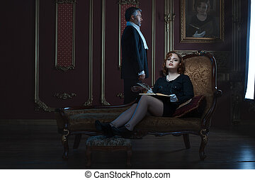 Rich and noble woman and man. - Rich and noble woman and a...