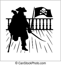 Pirate and Jolly Roger - vector silhouette isolated on white