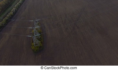 Aerial High voltage power line from above - Aerial High...