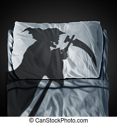 Death Bed - Death bed and fear of mortality concept as a...
