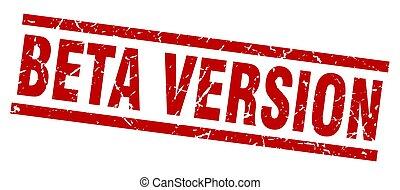 square grunge red beta version stamp