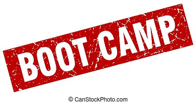 square grunge red boot camp stamp
