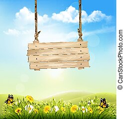 Spring nature background with green grass and wooden sign. Vector