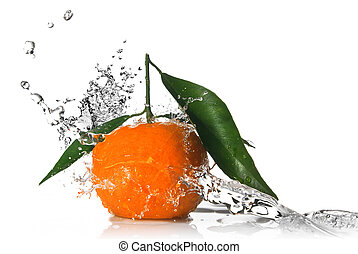 Tangerine with water splash isolated on white