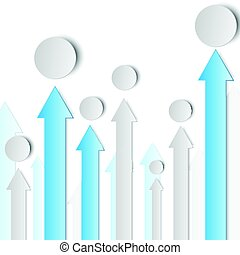 3d blue and grey arrow paper in vertical with circle for business graphic concept design