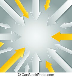 3d arrow paper point to center for business graphic concept...