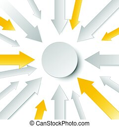 3d arrow paper with circle in the center for business...