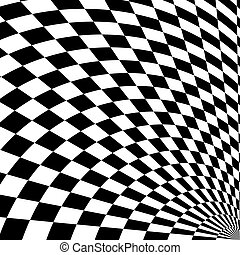 Black and white checkered curve pattern design for abstract background concept