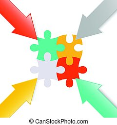 Colorful 3d arrow paper point at jigsaw puzzle for business...