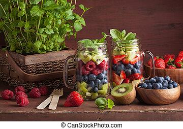 fruit salad in mason jar strawberry blueberry kiwi apple...