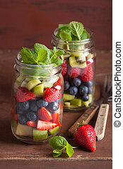 fruit salad in mason jar strawberry blueberry kiwi apple...