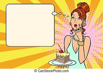 Beautiful woman and a piece of cake with cherries. Food and...