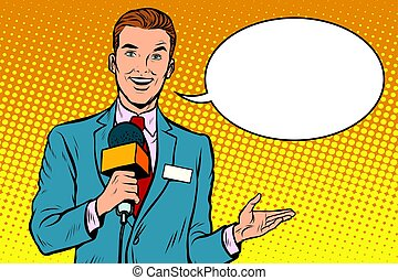Broadcaster news is reporting live. Pop art retro vector...