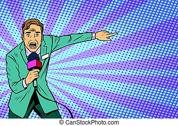 frightened TV reporter, crime reporting or disaster. Pop art...