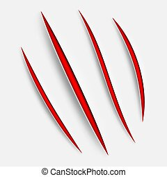 Animal Claw Scratches - Set of animal claw scratches or...