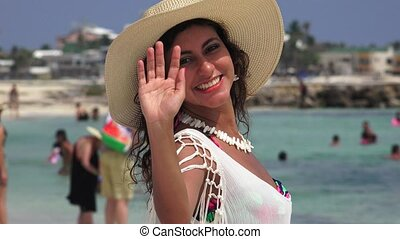 Female Tourist Waving And Clapping