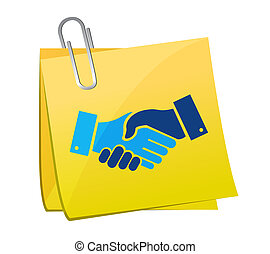 agreement handshake concept memo post illustration design...