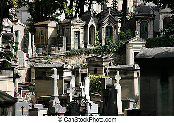 Montmartre cemetery. Old and famous graveyard in Paris,...