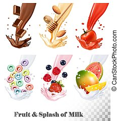 Set of three labels of of fruit in milk splashes. Fruit loops, chocolate, strawberry, almond, blueberry, mango, guava, tomato. Vector.