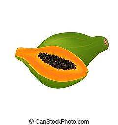 papaya fresh, slices and whole fruit on white background -...