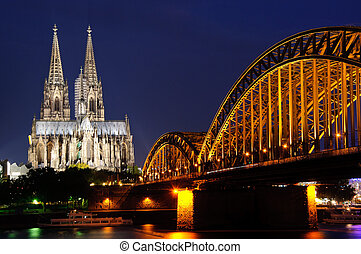 Cologne, Germany - Cologne Cathedral and Hohenzollern Bridge...