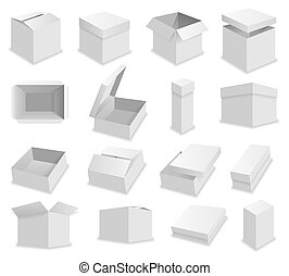 Vector blank packing box on white background. Realistic opened box
