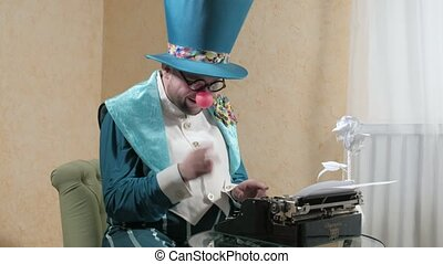 An illusionist writes on a typewriter holding a candle 4k -...
