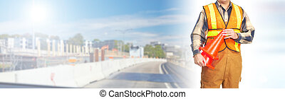 Road construction worker flagger - highway construction...