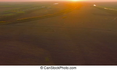 Aerial over field during beautiful sunset - Aerial shot...
