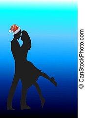 kissing christmas card