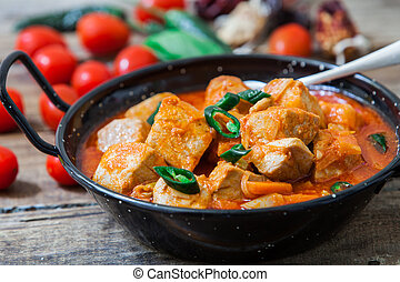 Red curry fish - Thai red curry fish with green pepper on...