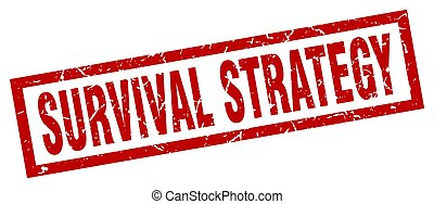 square grunge red survival strategy stamp