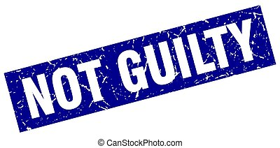 square grunge blue not guilty stamp