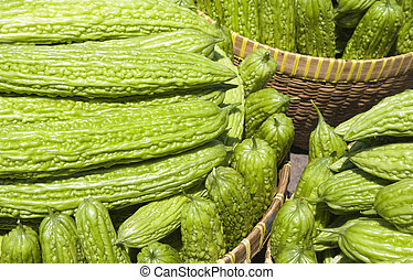 Bitter gourd bitter melon; a l long green bitter vegetable...