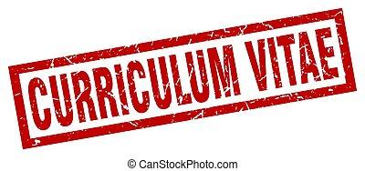 square grunge red curriculum vitae stamp