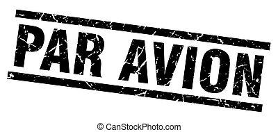 square grunge black par avion stamp